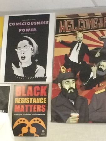 Posters on wall