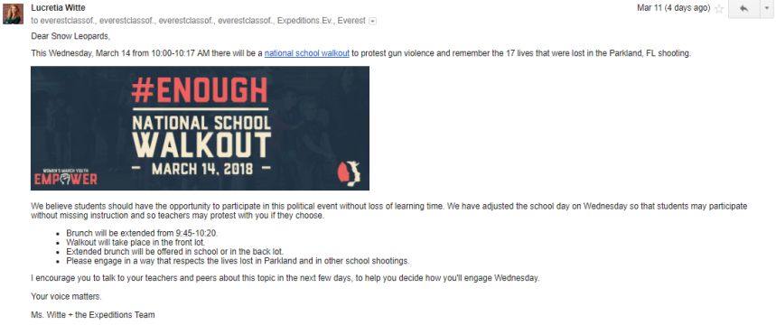 Witte Walkout email